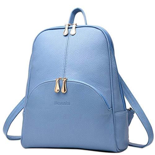 - Nevenka Brand Women Bags Backpack PU Leather Zipper Bags Purse Casual Backpacks Shoulder Bags (BLUE)