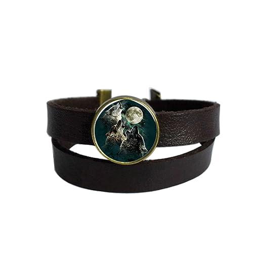 Amazon.com: Lunar Howl Lobos café oscuro pulsera de piel ...