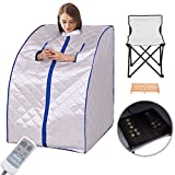 Giantex Portable Far Infrared Spa Sauna Full Body Slimming Weight Loss Negative Ion Detox Therapy In Home Personal Sauna w/ Heating Foot Pad and Folding Chair (Silver)