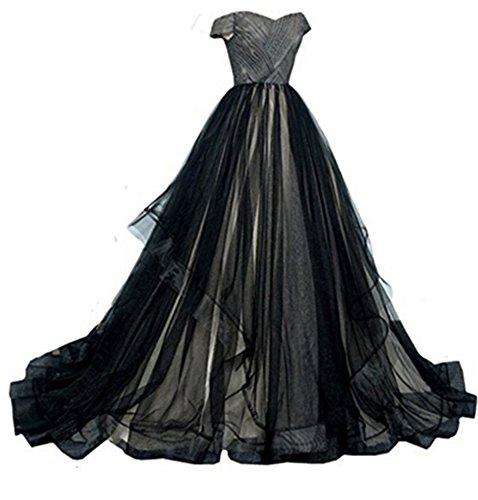 Kiss Rain Women's Black and White Tulle Corset Ball Gown Gothic Prom Wedding Dresses