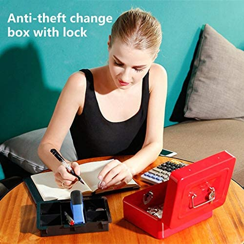 Taohou Mini Petty Cash Money Box Cerradura de Seguridad de Acero Inoxidable con Cerradura roja
