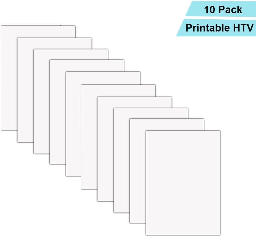 Printable Heat Transfer Vinyl Inkjet Printer Iron On Htv A4 Size For Dark Fabrics Or T Shirts Pack Of 10