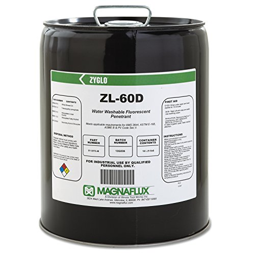 Magnaflux 01-3272-40 Green Zyglo ZL-60D Water Washable Fluorescent Penetrant, 5 gal Pail by Magnaflux