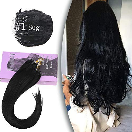 VeSunny 1G/Strand Micro Loop Extensions Black Human Hair 50 Strands MIcro Ring Link Hair Extensions Jet Black Real Remy Hair 18inch 50G/Set (1 Gram Loop Extensions)