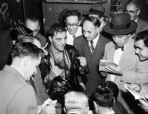 -1969) Namerican Boxer Marciano Talking With Reporters After His Victory Against Joe Louis At Madison Square Garden In New York City 26 October 1951 Poster Print by (18 x 24) ()