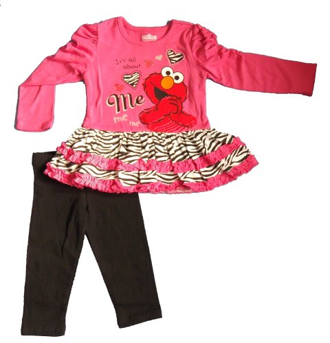 Sesame St Toddler Girls' 2pc Pullover and Pant Set, Pink, 4T