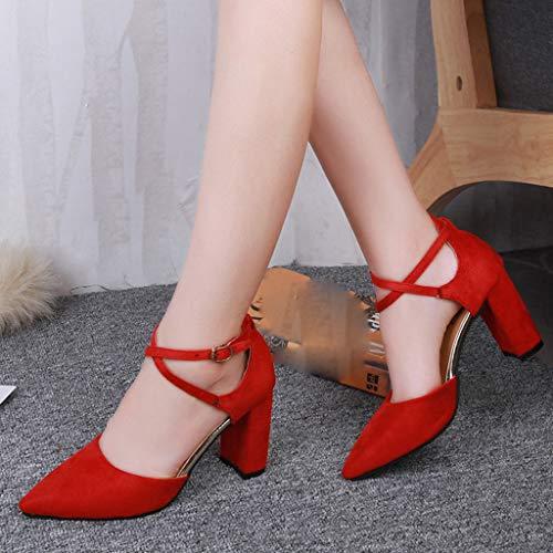 Sandalias Grueso Mujer Puntiaguda Correa Cruzada Cabeza Rojo Tacon Zapatos Uniforme Antideslizante Primavera Individuales Tacón Verano rCqrwRB