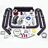 turbo upgrade kit - Universal High Performance Upgrade GT45 T4 12pc Turbo Kit (Black Intercooler / Black Pipping)