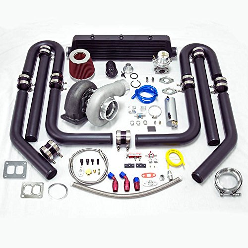 Universal High Performance Upgrade GT45 T4 12pc Turbo Kit (Black Intercooler/Black Pipping)