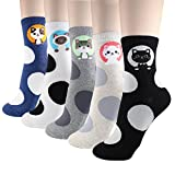 DearMy Womens Cute Design Casual Cotton Crew Socks | Good for Gift Idea| One Size Fits All (Lucky Cats 5 Pairs)