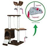 PARTYSAVING PET PALACE Cat Tree Kitten Activity Tower Condo with Perches, Scratching Posts, and Squeaking Mice, APL1342, Brown