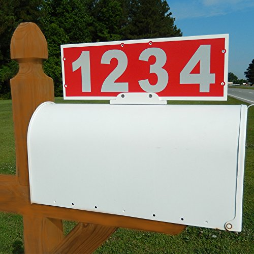 Mailbox Address Plaque, Red Horizontal ,Reflective 911 Plate, Most Visible Mailbox Address Marker Money Can (Large Vertical Mailbox)