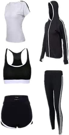 طقم ملابس رياضية للنساء 5 قطع لممارسة الرياضة والركض واليوغا