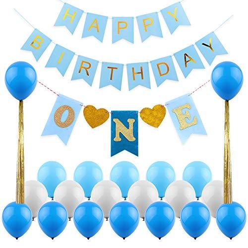 1st Birthday Boy Decorations Kit Happy Banner 12inch Pearl Blue Light White