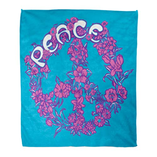 Golee Throw Blanket Sign Peace Florals Bloom Drawing Drawn Flourish Flower Graphic Hand 60x80 Inches Warm Fuzzy Soft Blanket for Bed - Peace Sign Fleece