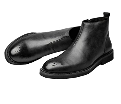 5313ce0c58e Men Martin Boots Chelsea Boots Round Toe Pure Color British Style Carved  Tall Bootie Business Casual