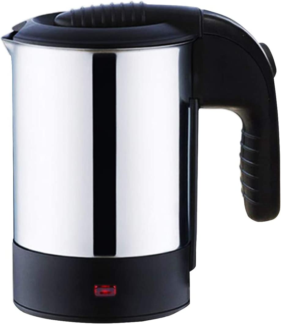 0.5L Mini Portable Stainless Steel Electric Water Kettle for Travel Abroad (Black)