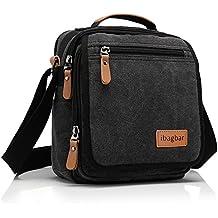 ibagbar Small Canvas Shoulder Bag Messenger Bag Work Satchel Casual Bag