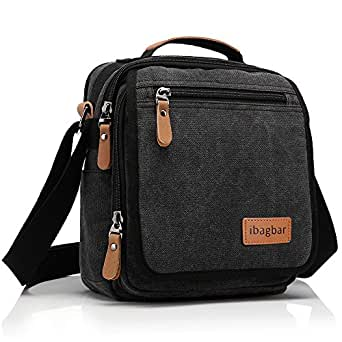 Ibagbar Durable Vintage Multifunction Canvas Shoulder Bag Business Messenger Bag Ipad Bag Tote Bag Satchel Bag for Men and Women Black