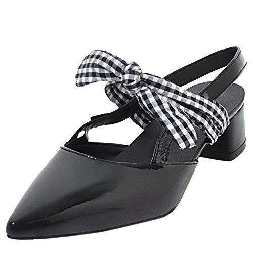 TAOFFEN Women Stylish Heels Sandals Low Heel Black YvNpzv