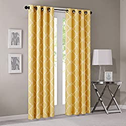 Yellow Curtains for Living Room, Modern Contemporary Window Curtains for Bedroom, Print Saratoga Fabric Grommet Window Curtains, 50X84, 1-Panel Pack