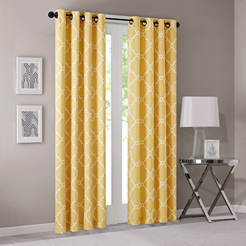 Madison Park Saratoga Room-Darkening Curtain Fretwork Print 1 Window Panel with Grommet Top Blackout Drapes for Bedroom and Dorm, 50x95, ()