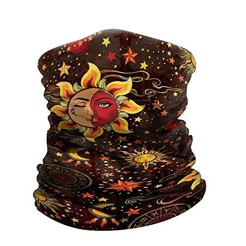 (WIRESTER Bandana Mask, Headwear, Scarf for Running, Cycling, Fishing, UV Protection - Celestial Sun Moon and Stars)