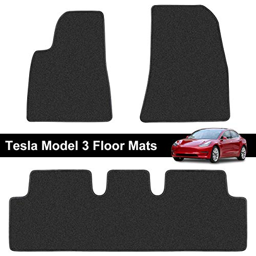 Liquid Anti Snow - Teexpert Tesla Model 3 Floor Mats Liners Set All Weather Custom Fit Heavy Duty Floor Protection All Season 2017 2018 2019 Black