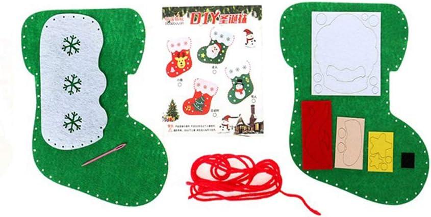 LIOOBO 3pcs Christmas Stocking Felt Applique Kit Handmade Christmas Tree Ornaments Xmas Sock Making Kit for Kids DIY Children