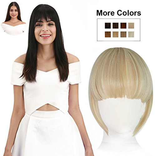 REECHO Fashion Full Length Synthetic 1 Piece Layered Clip in Hair Bangs Fringe Hairpieces Hair Extensions Color - F18/613