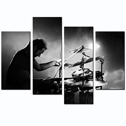 Sea Charm Rock Canvas Art,Black and White Rock Concerts Picture Canvas Prints,Drummer Playing Drums Poster Wall Art,Modern Living Room Decor,Framed and Ready to Hang (Canvas Deco Art Print)