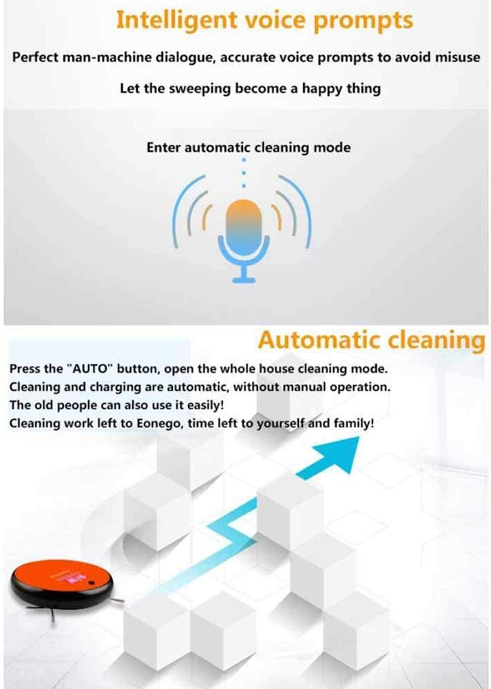 TTXLY Aspirateur Automatique Robot Super-Mince Corps à Forte Aspiration Voix Auto-Charge Invite aspirateur robotique pour Sol Dur et Tapis,Orange Black