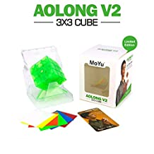 Lanlan 3x3 Rubik's Cube Transparent Green Commemorative Edition Magic Cubes with Triangle Holder