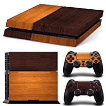 Ps4 Playstation 4 Console Skin Decal Sticker Wood Brown + 2 Controller Skins Set
