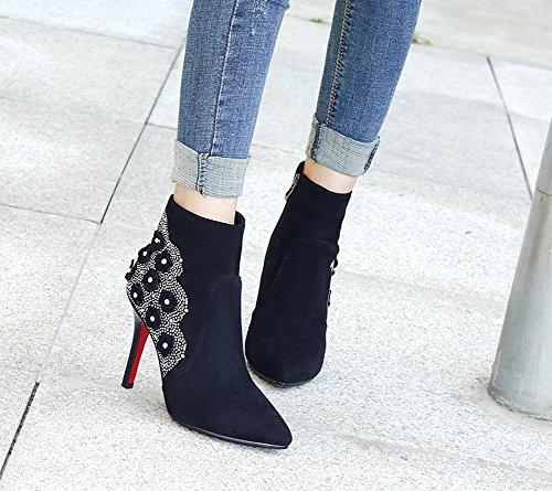 Latasa Womens Applique Pointed toe High Heels Wedding Booties Black m3TrqoqD