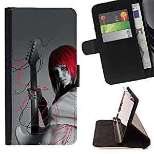 Cool Punk Rock Red Head Girl - Painting Art Smile Face Style Design PU Leather Flip Stand Case Cover FOR HTC One M8 @ The Smurfs