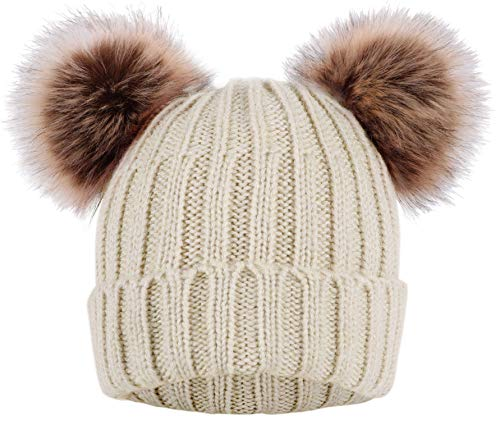 Arctic Paw Cable Knit Beanie with Faux Fur Pompom Ears Beige