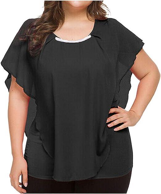 Bluelucon camisetas mujer Tallas Grandes Blusas para Mujer Blusa con Cuello En V Tops Blusa Sexy De Moda Camiseta con Volantes De Gasa Tops Mujer Fiesta Tops Camisetas Elegantes Blusa: Amazon.es: Ropa
