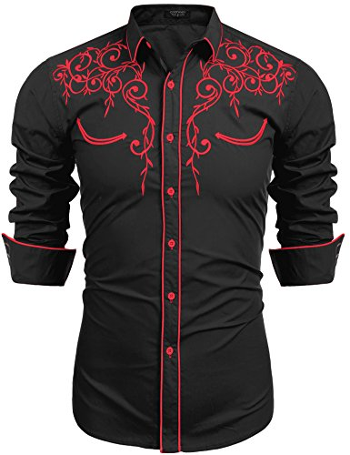 COOFANDY Men's Long Sleeve Shirt Embroidery Slim Fit Casual Button Down Shirt, 01-red&black, Large