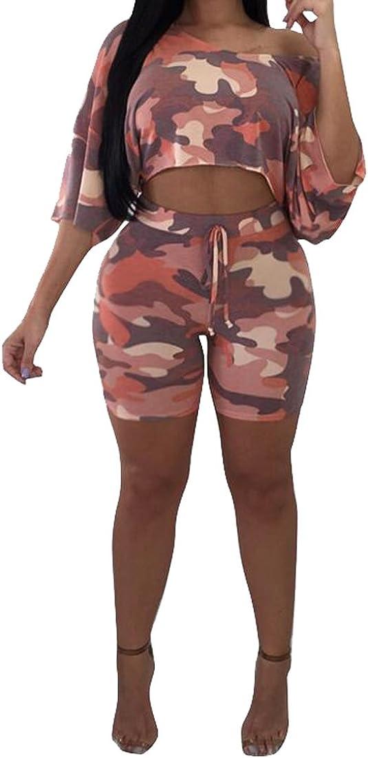 Fubotevic Womens 2 Pcs Camo Sports Suit One Shoulder Shorts Short Jumpsuit Romper
