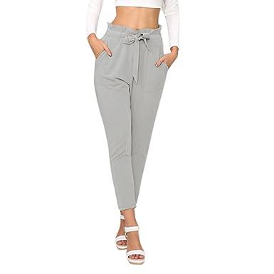 3694656a7df5 semen Femme Pantalon Crayon Taille Haute Slim avec Ceinture Trouser Pants  Casual Streth