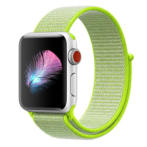 HILIMNY Compatible for Apple Watch Band 38mm, New Nylon Sport Loop, with Hook and Loop Fastener, Adjustable Closure Wrist Strap, Replacement Band Compatible for iwatch, (38mm, Flash Light)