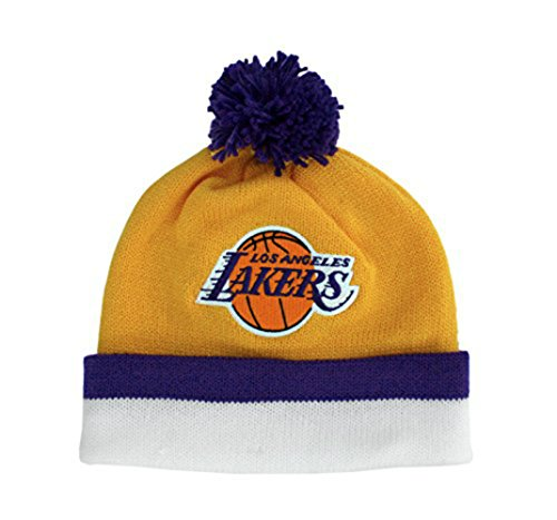 Los Angeles Lakers Knit Beanie Cap Hat Cuffed With Pom