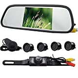 Elife Hot Sell Popular Weatherproof 4 Parking Sensors Car Backup Reverse Radar Kit Voice Alert Radar Detectors + 5.0'' The Vehicle Rearview Mirror Monitor+ LED Reverse Color Video Camera Kits