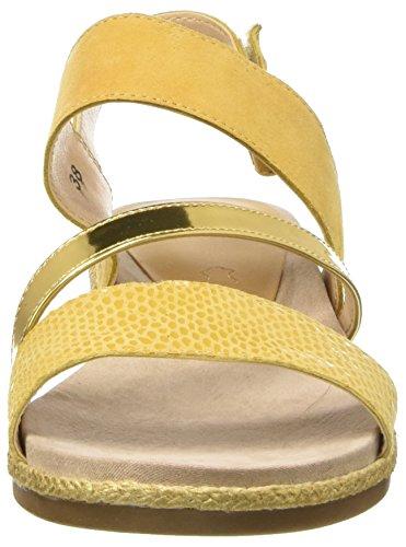 Caprice 28105, Sandalias con Cuña Para Mujer Amarillo (Saffron Re.com)