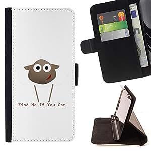BullDog Case - FOR/Samsung Galaxy Note 3 III / - / Find Me If You Can Lamb /- Monedero de cuero de la PU Llevar cubierta de la caja con el ID Credit Card Slots Flip funda de cuer