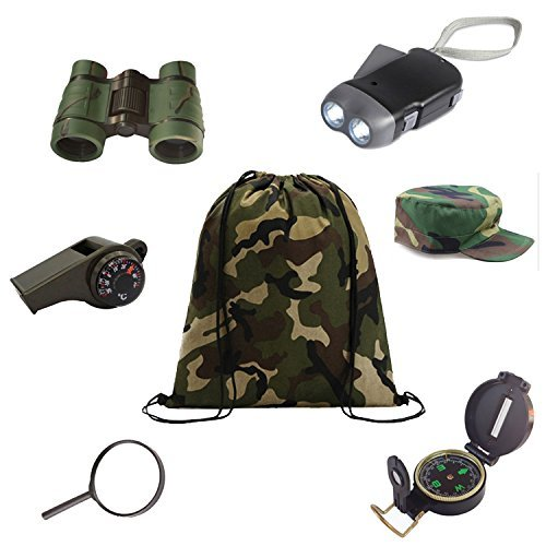 +New Recruit+ Kids Outdoor Backyard Exploration kit (7 Pieces) Adventure,Camping,Hiking Educational Toys/Gift Set – Backpack, Magnifying Glass, Flashlight,Compass,Binoculars,and Military Style hat