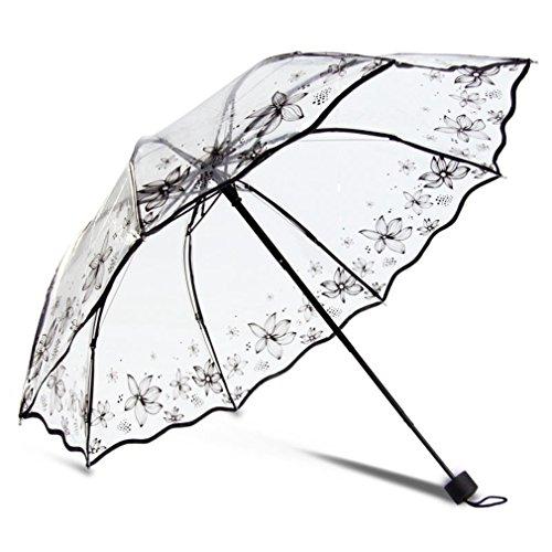 HOMEIC Transparent Umbrella Rain Sunny And Rainy Umbrella Parasol Thicken Three-Folding Women Flower