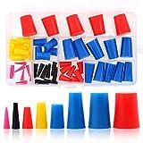 Swpeet 50Pcs High Temp Silicone Rubber Protective Tapered Cap & Plug Assortment Kit, Masking System Kit Perfect for Powder Coating, Painting, Anodizing, Plating & Media Blasting