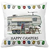 Onker Cute RV Vintage Fifth Wheel Camper Travel Trailer Pillow Home Style Cotton Linen Decorative Couple Throw Pillow Cover Cushion Case Couple Pillow Case